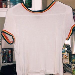 Rue21 Pride White Crop Top with Rainbow border